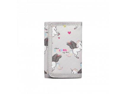Detská peňaženka - jednorožci - sivá