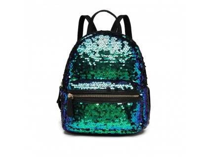 Flitrový dizajnový batôžtek - modrý