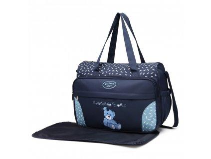 Prebalovacia taška s medvedíkom - modrá