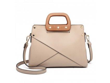Luxusná elegantná kabelka s drevenou rukoväťou Daniela - marhuľová