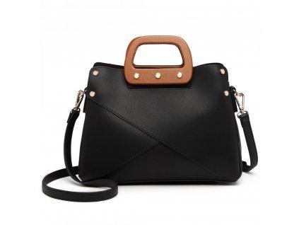 Luxusná elegantná kabelka s drevenou rukoväťou Daniela - čierna