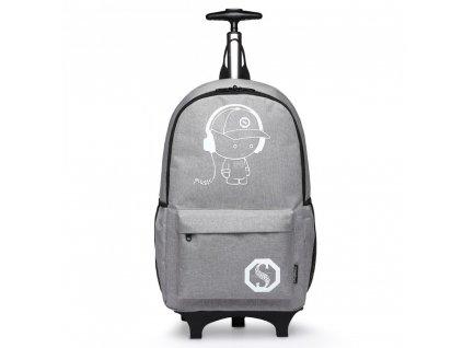 Variabilný batoh na kolieskach - sivý