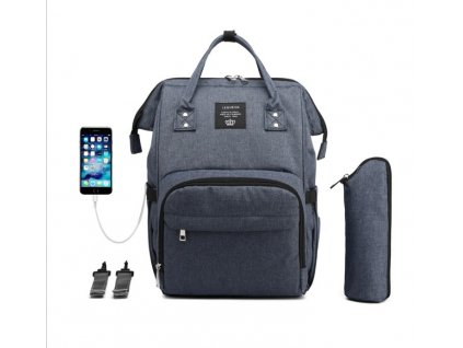 Multifunkčný batoh na kočík s USB portom - Navy