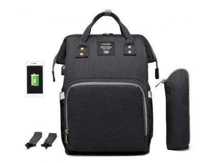 Multifunkčný batoh na kočík s USB portom - Čierny