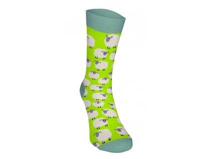 Veselé ponožky - Ovečky 2 svetlo zelené