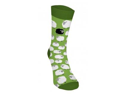 Veselé ponožky - Ovečky 3 - biele na zelenej