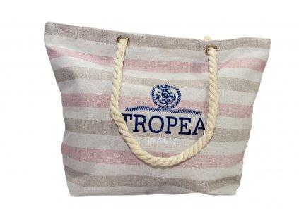 Plážová Taška Tropea Italia - Ružové Pruhy