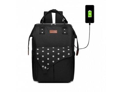 Prebaľovací batoh na kočík Polka s USB portom - čierny bodkovaný