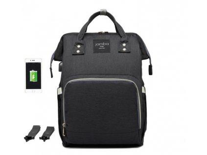 Multifunkčný batoh na kočík so zabudovaným ohrievačom a USB portom - čierny