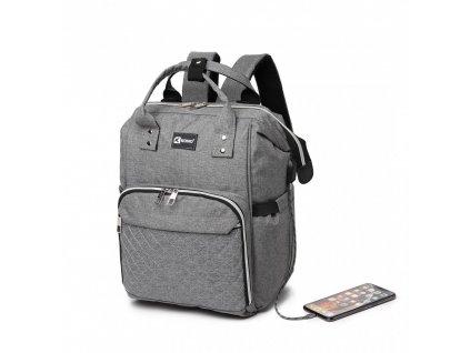 Prebalovací batoh na kočík Kono s USB portom - sivý