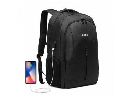 Chytrý batoh so zabudovaným USB portom Manny - čierny