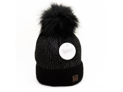 Dámska zimná čiapka Wrobi - čierna so strieborným odleskom
