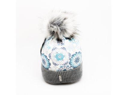 Dámska zimná čiapka vločka - sivo modro biela