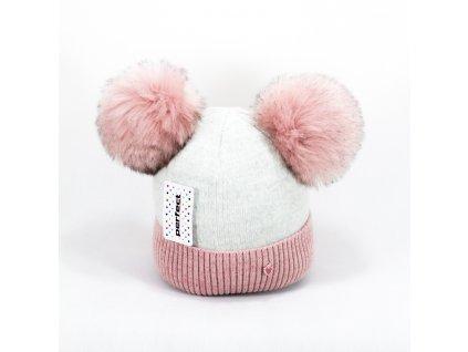 Zimná dievčenská čiapka s dvomi brmbolcami - ružovo sivá