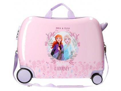 Detský kufor na kolieskach - odrážadlo - Disney Frozen 2 - ružový