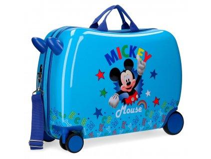 Detský kufor na kolieskach - odrážadlo - Mickey Stars 2