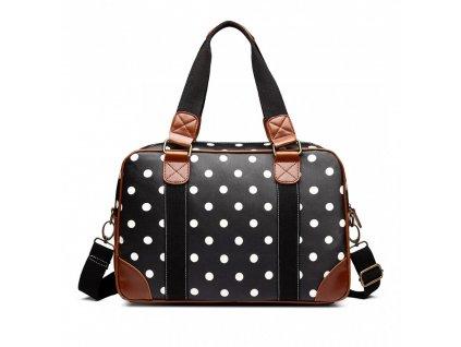 Malá cestovná taška - čierna bodkovaná