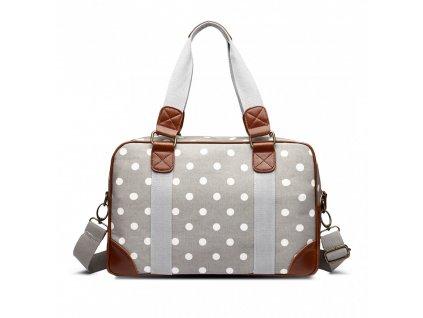 Malá cestovná taška - sivá bodkovaná