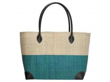 Plážová taška / košík Rafia Mand - tyrkysová