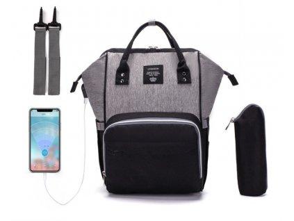 Multifunkčný batoh na kočík so zabudovaným USB portom - Čierno Sivý