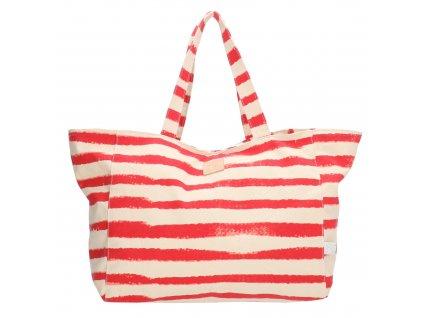Bavlnená pruhovaná plážová taška PE-Florence - červená