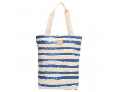 Bavlnená pruhovaná shopper taška PE-Florence - modrá