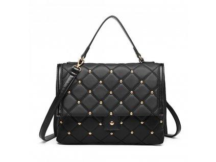 Prešívaná elegantná vybíjaná kabelka Karmen - čierna