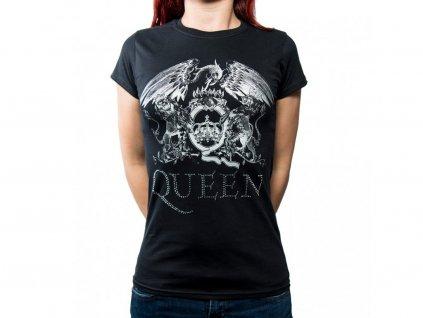 Originálne dámske tričko Queen s kamienkami - čierne