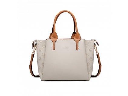 Kompaktná biznis kabelka Miss Lulu Charlotte - béžová