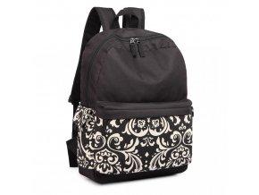 Dámsky nepremokavý batoh - čierny s bielym vzorm