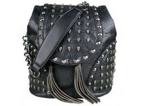 Viacúčelový dámsky batoh a taška v jednom s lebkami - Skull black