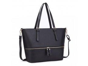 Štýlová dámska elegantná kabelka so zipsom - čierna