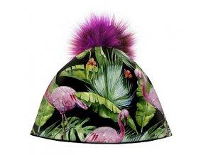Dizajnová dámska čiapka s veľkým brmbolcom- plameniaci