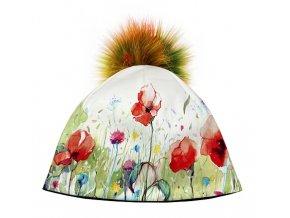 Dizajnová dámska čiapka s veľkým brmbolcom- jarná louka