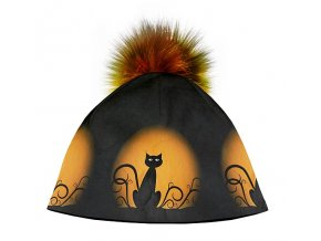 Dizajnová dámska čiapka s veľkým brmbolcom- Mačka na mesiaci