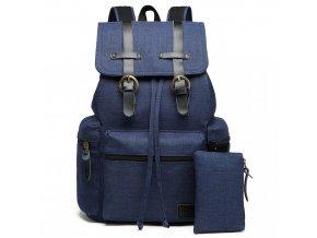 Unisexový modrý kanvas batoh s peňaženkou