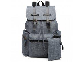 Unisexový sivý kanvas batoh s peňaženkou