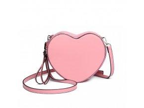 Dámska crossbody lakovaná kabelka - srdiečko - ružová