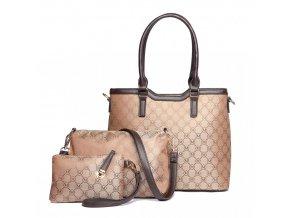 Set luxusných elegantných tašiek - hnedá