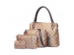 Set štyroch luxusných elegantných tašiek - hnedá