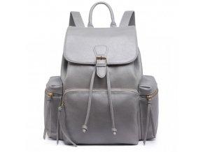 Priestranný dámsky batoh - šedý