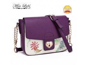 Malá crossbody elegantná kabelka s kvetinovým vzorom - fialová
