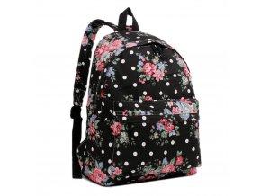 Batoh na chrbát s potlačou - čierny s ružičkami