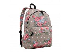 Batoh na chrbát s potlačou - sivý s ružičkami