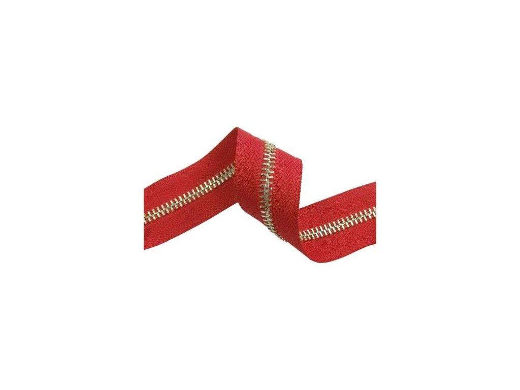 kovova zipova paska 5 171 cervena zlato lesk 1 m