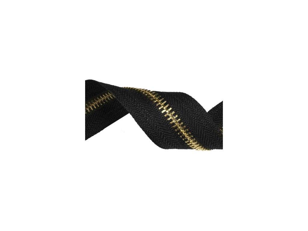 tasma suwakowa pes metalowa 8 czarna 580 36 mm zloto polysk 50 mb