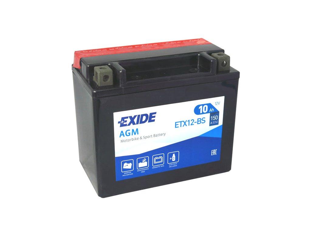 Motobaterie EXIDE ETX12-BS, 12V, 10Ah, 150A