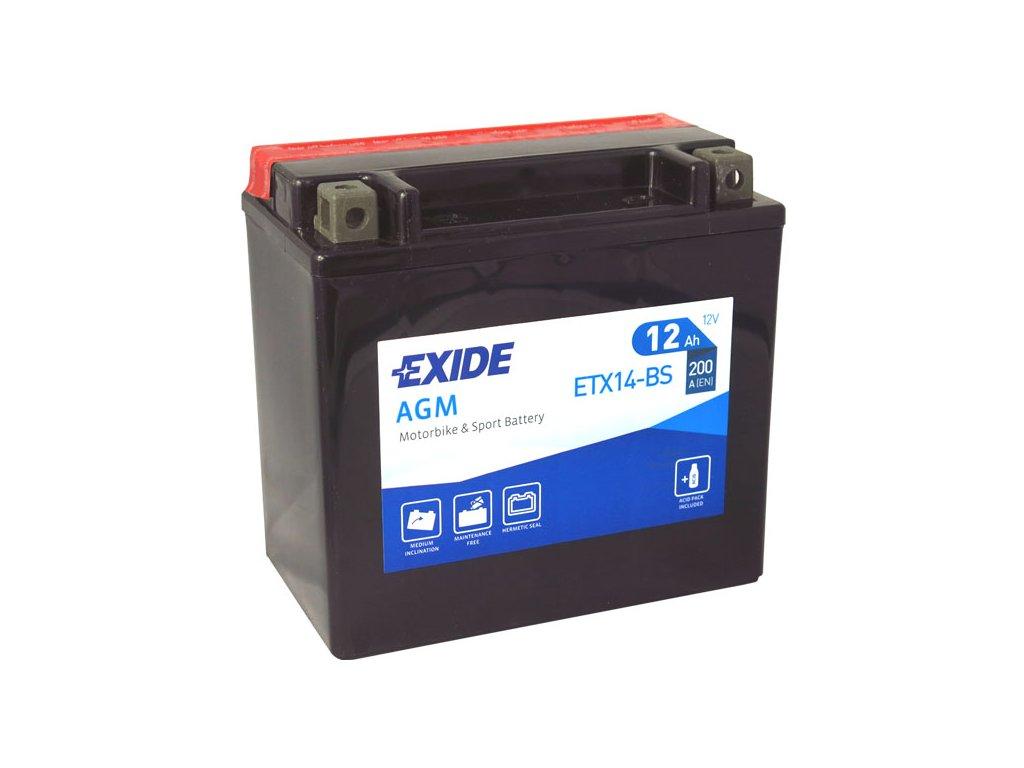 Motobaterie EXIDE ETX14-BS, 12V, 12Ah, 200A