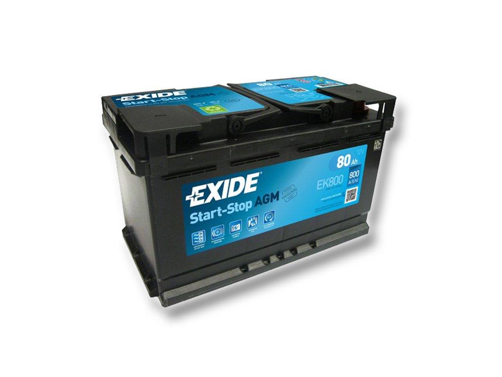 Autobaterie EXIDE START-STOP AGM 80Ah, 12V, EK800