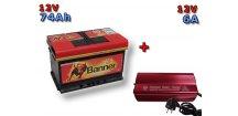 Výhodný set autobaterie Banner Power Bull P74 12, 74Ah, 12V a multifunkční Nabíječky FST ABC-1206